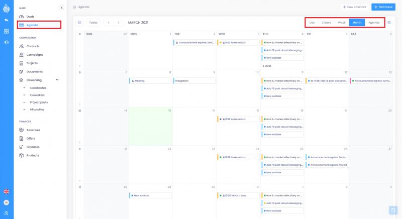 Calendar modes 800x436 - Agenda - basic informations