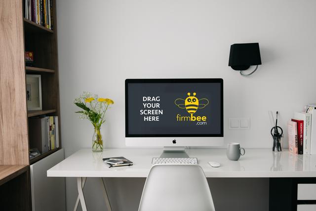 Freelance workspace with Apple iMac