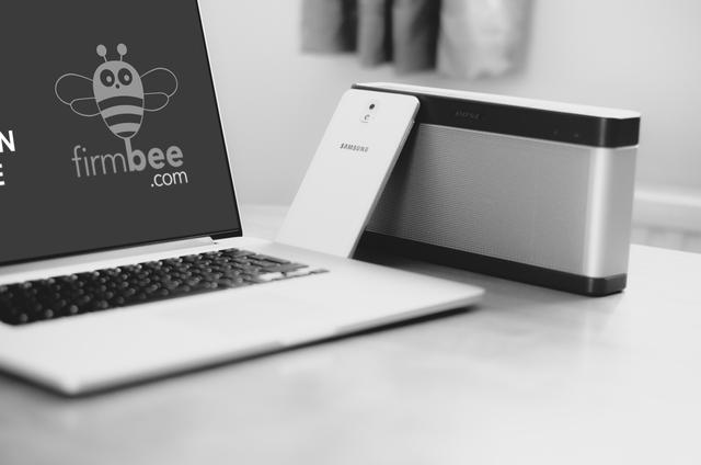 Modern laptop and Samsung Galaxy