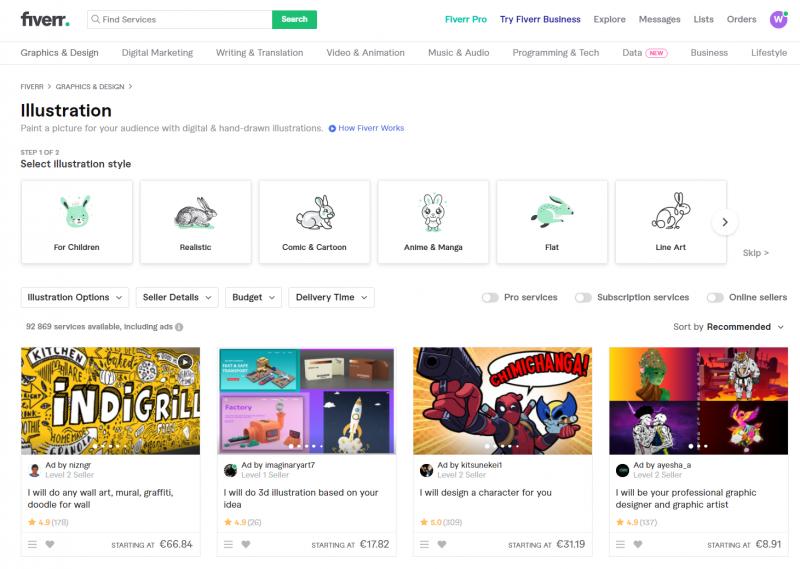 selling graphic design on fiverr